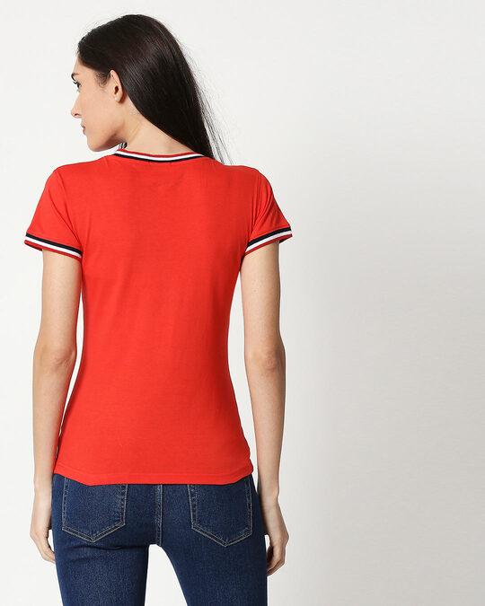 Shop Imperial Red V-Neck Varsity Rib T-shirt-Design
