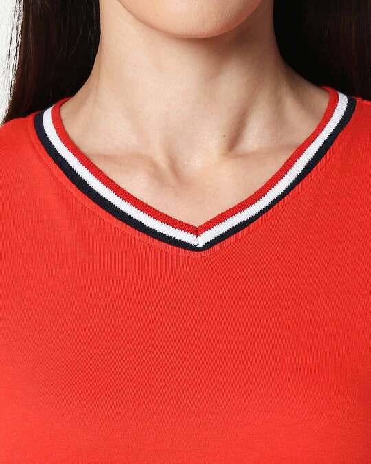 Shop Imperial Red V-Neck Varsity Rib T-shirt