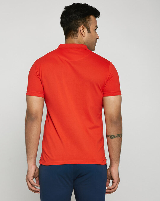 Shop Imperial Red-White Contrast Collar Pique Polo T-Shirt-Design