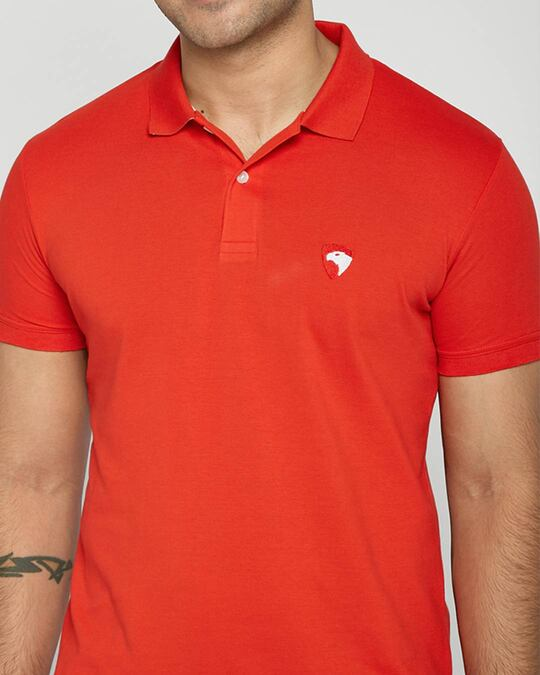 Shop Imperial Red-White Contrast Collar Pique Polo T-Shirt