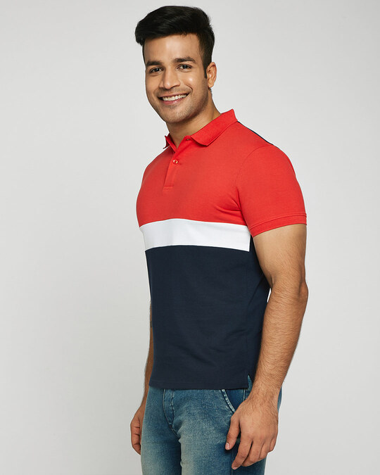 Shop Imperial Red-White-Dark Navy Triple Block Polo T-Shirt-Back