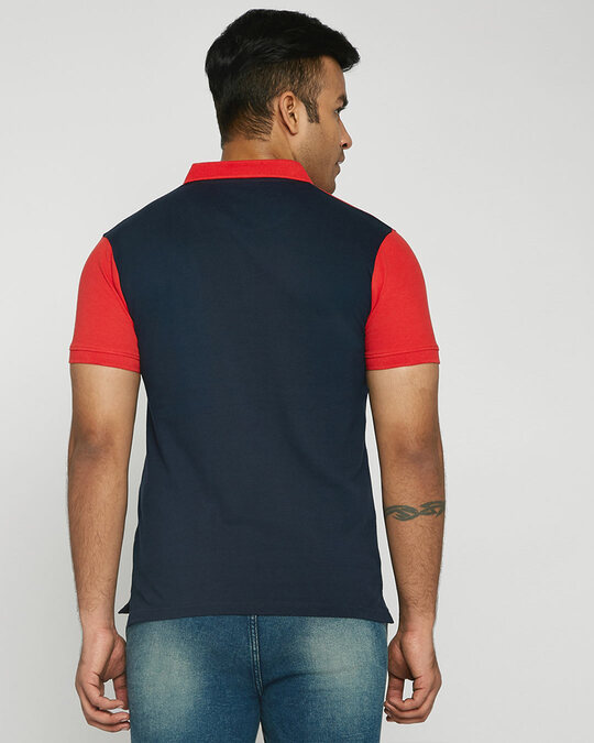 Shop Imperial Red-White-Dark Navy Triple Block Polo T-Shirt-Design