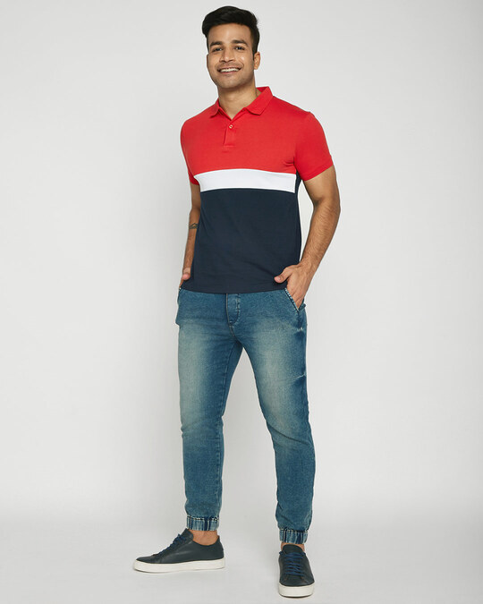 Shop Imperial Red-White-Dark Navy Triple Block Polo T-Shirt-Full