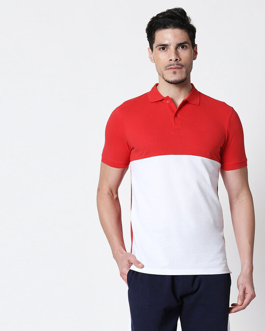 Shop Imperial Red-White Two Block Polo T-Shirt-Front