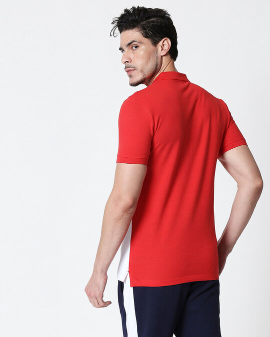 Shop Imperial Red-White Two Block Polo T-Shirt-Design