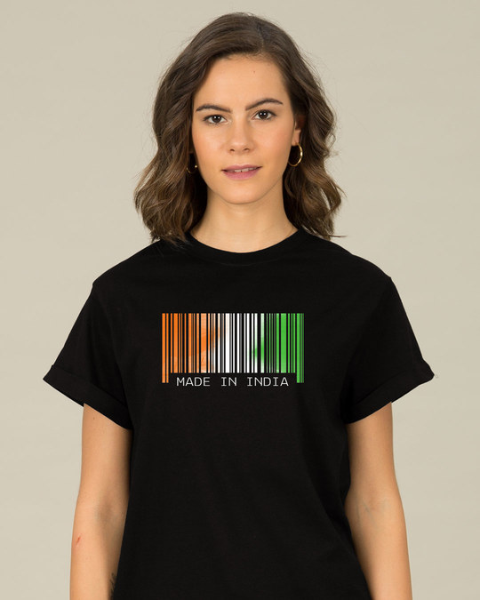 Shop India Barcode Boyfriend T-Shirt-Front