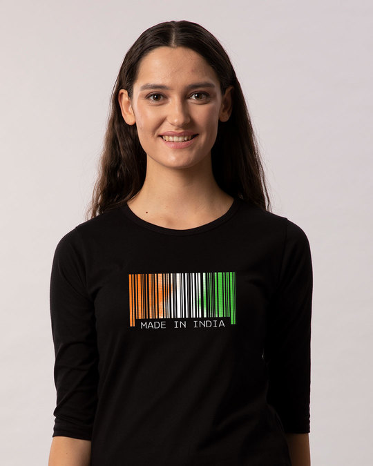 Shop India Barcode Round Neck 3/4th Sleeve T-Shirt-Front