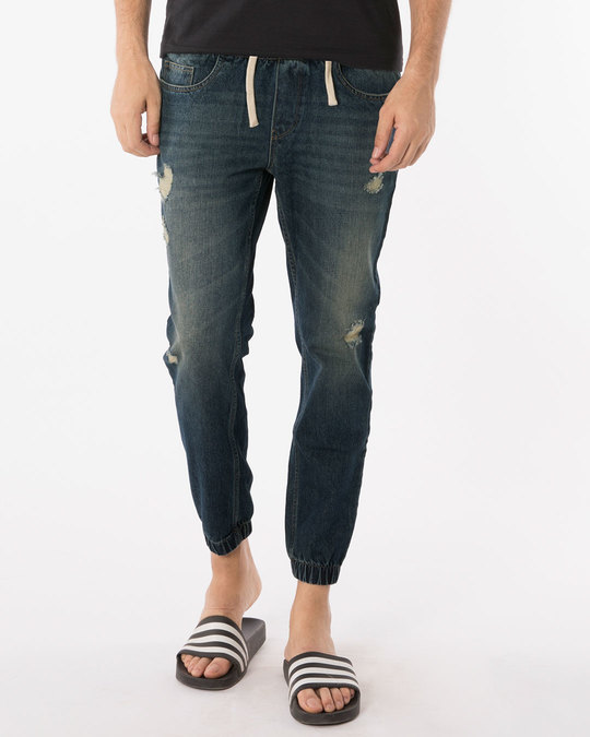 Shop Indigo Blue Plain Denim Joggers-Front
