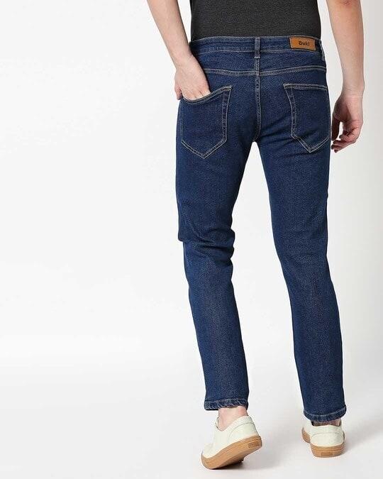 Shop Indigo Denim Pants Mid Rise Stretchable Men's Jeans-Design