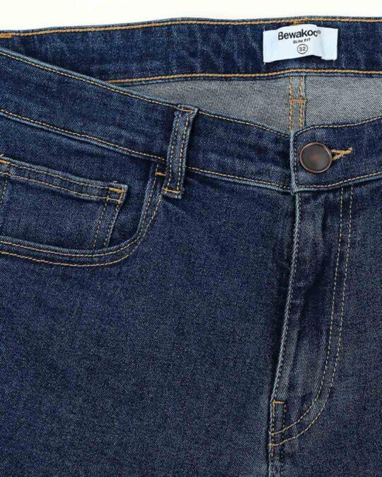 Shop Indigo Denim Pants Mid Rise Stretchable Men's Jeans