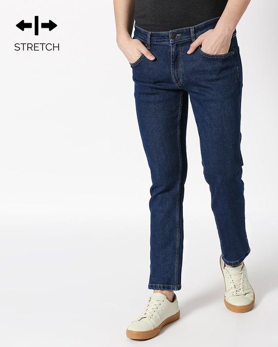 Shop Indigo Denim Pants Mid Rise Stretchable Men's Jeans-Front