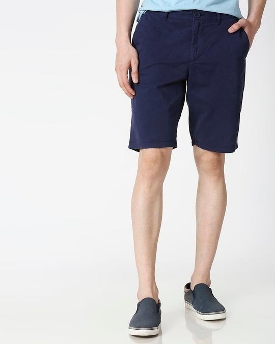 Shop Indigo Chino Shorts-Front