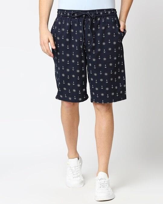 Shop Men's Indigo Printed Woven Shorts-Back