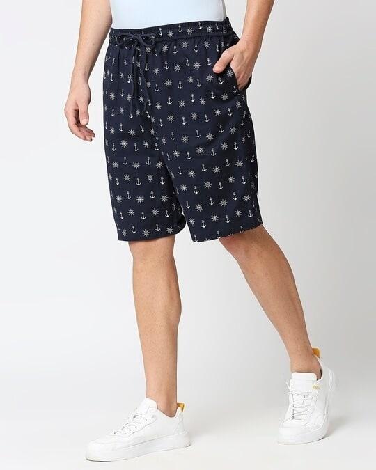 Shop Men's Indigo Printed Woven Shorts-Design