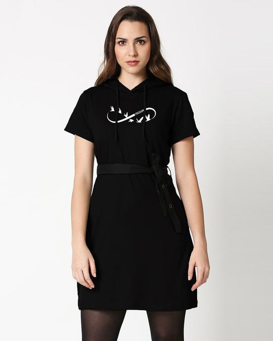 Shop Infinity Freedom Hoodie Dress Black-Front