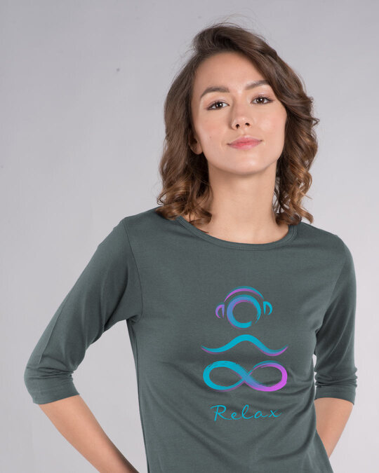 Shop Infinity Peace Round Neck 3/4th Sleeve T-Shirt-Front