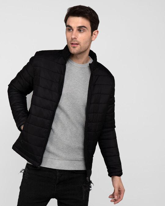Shop Ink Black Plain Puffer Jacket-Front