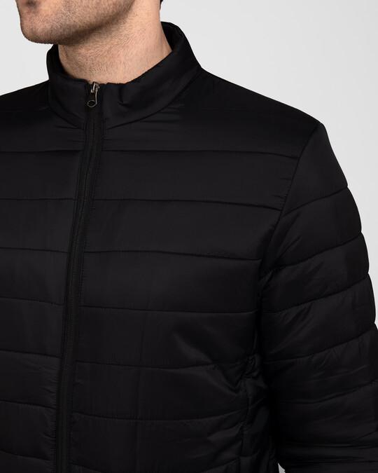 Shop Ink Black Plain Puffer Jacket