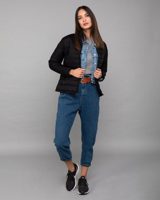 Shop Ink Black Plain Puffer Jacket-Full