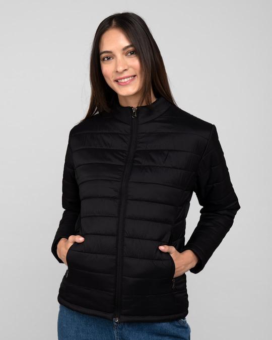 Shop Ink Black Plain Puffer Jacket-Back