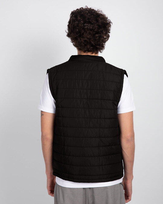 Shop Ink Black Sleeveless Puffer jacket-Design