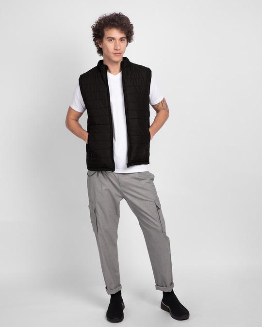 Shop Ink Black Sleeveless Puffer jacket-Full