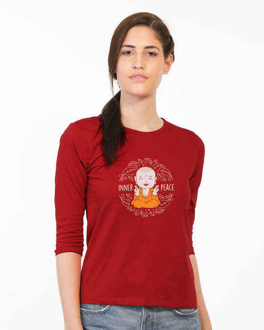Shop Inner Peace  Round Neck 3/4 Sleeve T-Shirts Bold Red-Back