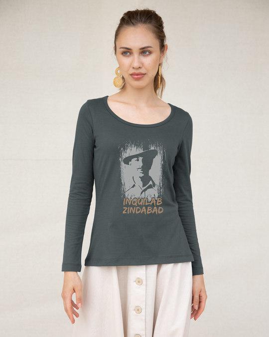 Shop Inquilab Zindabad Scoop Neck Full Sleeve T-Shirt-Front