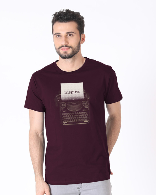 Shop Inspire Black Half Sleeve T-Shirt-Back