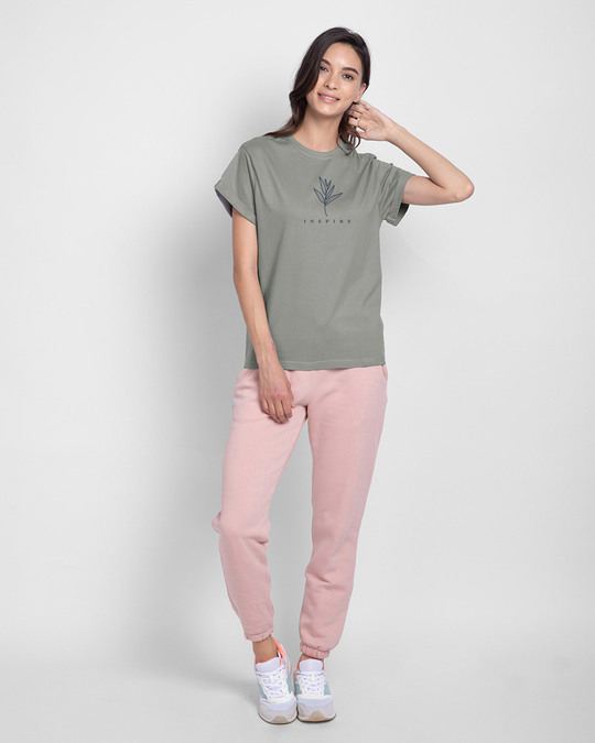 Shop Inspire Leaf Boyfriend T-Shirt Meteor Grey-Design