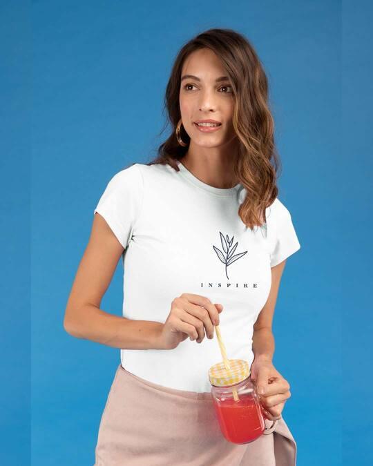 Shop Inspire Leaf Half Sleeve T-Shirt White-Front