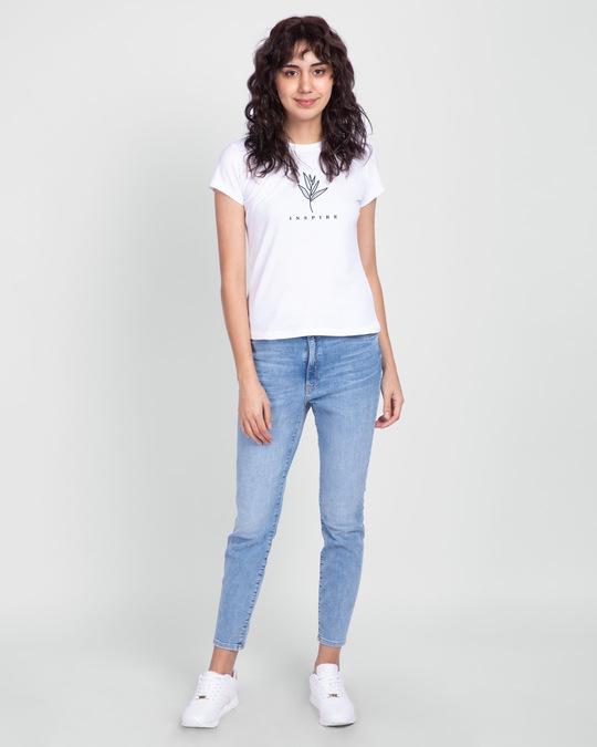 Shop Inspire Leaf Half Sleeve T-Shirt White-Full