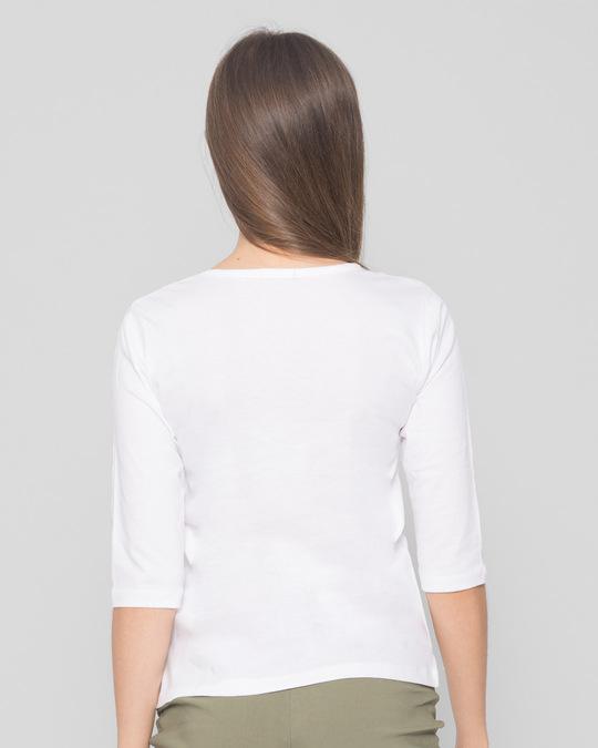 Shop Inspire Leaf Round Neck 3/4 Sleeve T-Shirts White-Back