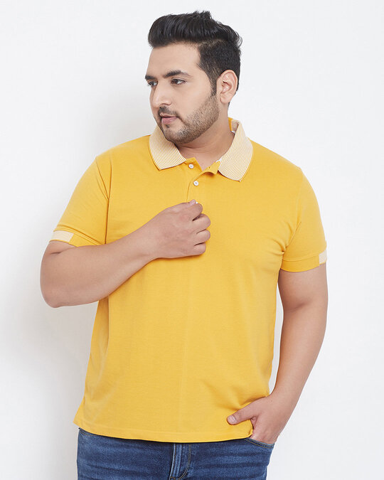 Shop Instafab Men Plus Size Stylish Polo Neck Solid Casual T-Shirts-Front