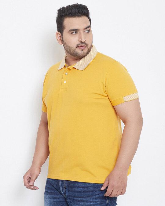 Shop Instafab Men Plus Size Stylish Polo Neck Solid Casual T-Shirts-Design