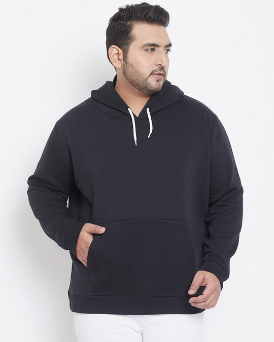 Shop Men Plus Size Solid Stylish Casual Winter Hooded Sweatshirts-Front