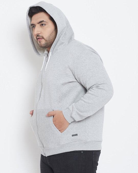 Shop Men Plus Size Solid Stylish Casual Winter Hooded Sweatshirts-Back