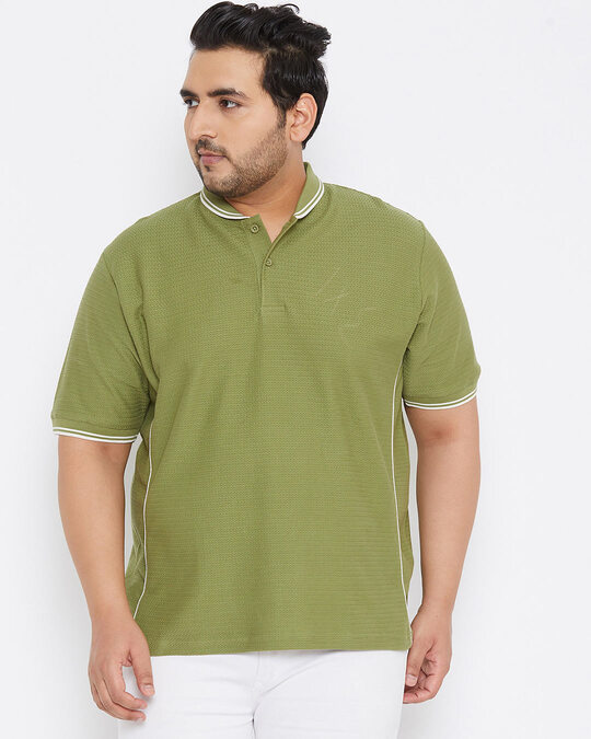 Shop Size Men Stylish Solid Half Sleeve Casual T Shirts-Front