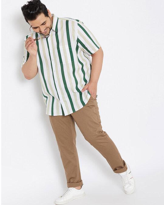 Shop Size Men Stylish Striped Half Sleeve Casual Shirts