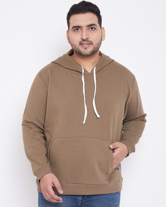 Shop Men's Plus Size Solid Stylish Casual Winter Hooded Sweatshirt-Front