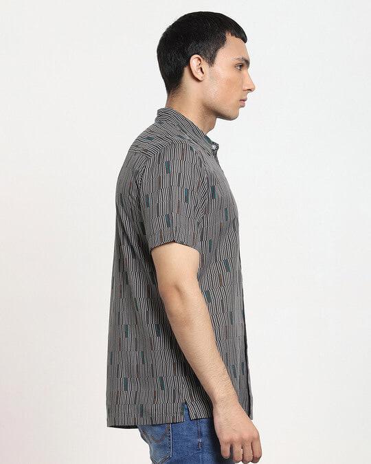 Shop Iron Gate Uneven Line AOP Half Sleeve Shirt-Design
