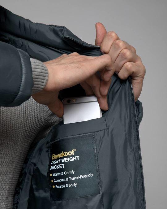 Shop Iron Grey Plain Puffer Jacket