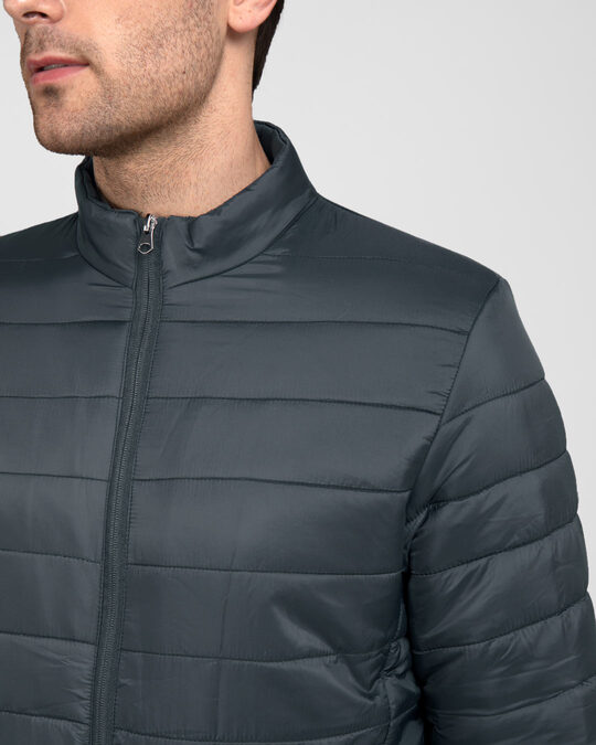 Shop Iron Grey Plain Puffer Jacket
