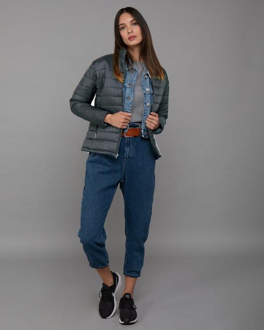 Shop Iron Grey Plain Puffer Jacket-Full