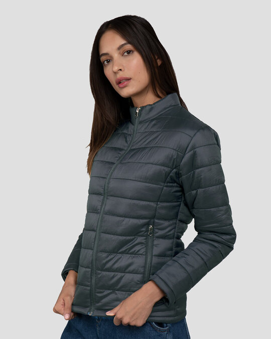 Shop Iron Grey Plain Puffer Jacket-Back