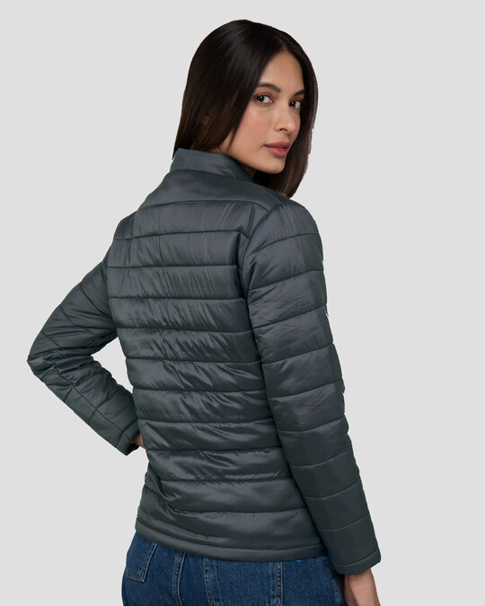 Shop Iron Grey Plain Puffer Jacket-Design