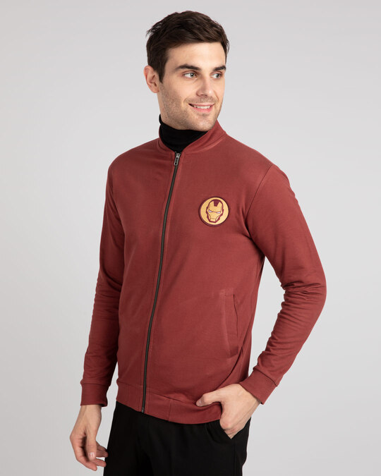 Shop Iron Man Badge Zipper Bomber Jacket-Back