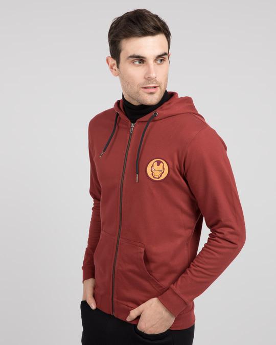 Shop Iron Man Badge Zipper Hoodie-Back