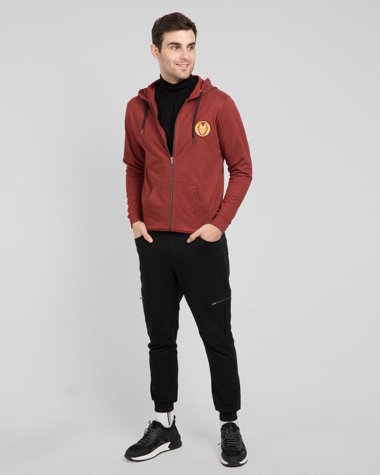 Shop Iron Man Badge Zipper Hoodie-Full