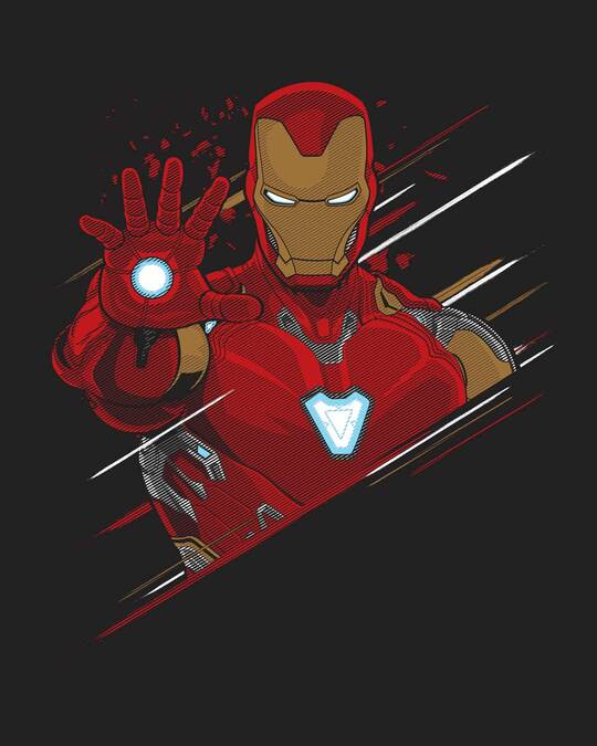 Shop Iron Man Brush Half Sleeve T-Shirt (AVEGL)-Full